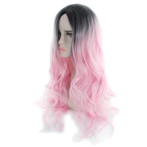 女性の髪型グラデーションカラーウェーブカーリング長いカーリーウィッグ