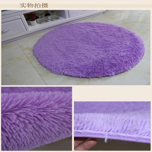 40cm*40cm Soft Bath Bedroom Floor Shower Round Mat Rug Non-slip Black