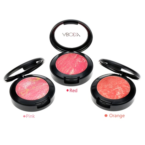Abody Makeup Mixed Colors Face Blusher Powder Palette Cosmetic Blusher Powder Make Up 3 Colors with Mirror Brush Pink