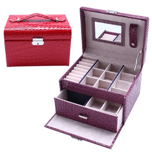 Portable Handheld Fashion High Grade PU Leather Jewelry Box 2 Layers Holder Storage Case Watch Necklace Ring Earring Accessories Display Drawer With Makeup Mirror Inside
