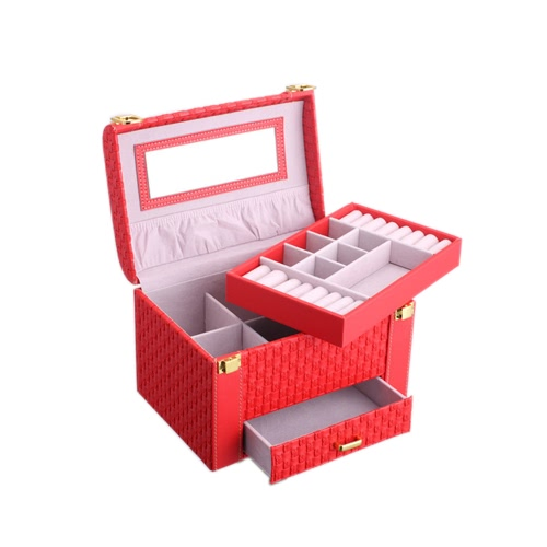 Portable Handheld Schmuck Display Make-up Casket Box 3 Ebenen Halter Organizer Case Schublade für Geschenk Knit Pattern Uhr Halskette Ring Ohrring Zubehör mit Make-up-Spiegel abnehmbare Dividers