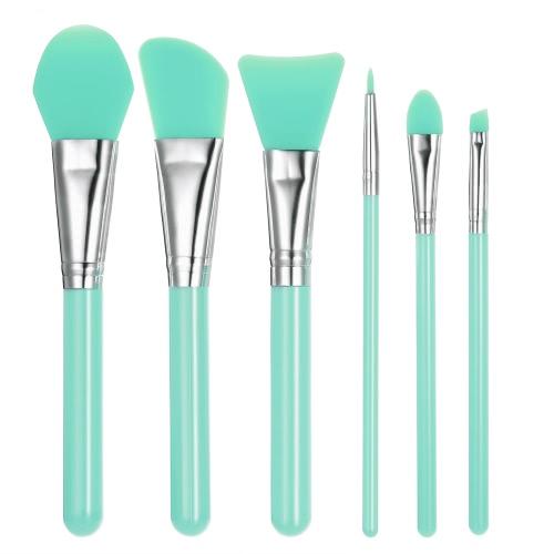 6pcs Silikon-Make-up-Pinsel-Set Gesichtsmaske Foundation-Bürsten-Kosmetik Lidschatten Augenbraue-Bürste-Ausrüstung mit Kunststoffgriff Grün