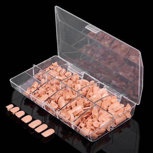 200pcs / pack de 10 tamaños falsos falsos clavos consejos de caja para el modelo de práctica flexible entrenando la mano clava DIY Salón de Arte