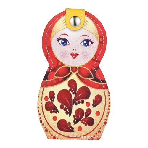 6 stücke Russische Puppe Muster Maniküre Schönheit Werkzeuge Set Edelstahl Leder Pouch Fall Earpick Clippers Pinzette Schere Datei