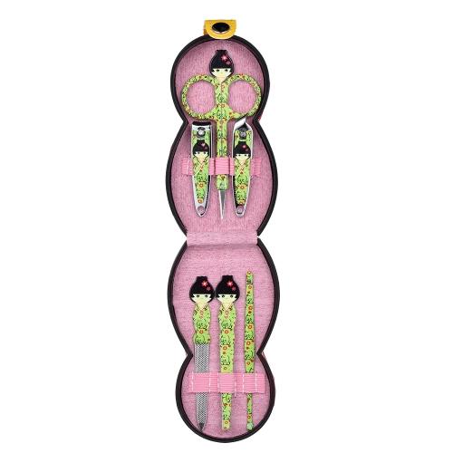6шт японской куклы Pattern Маникюр красоты инструменты набор из нержавеющей стали кожаный чехол случае