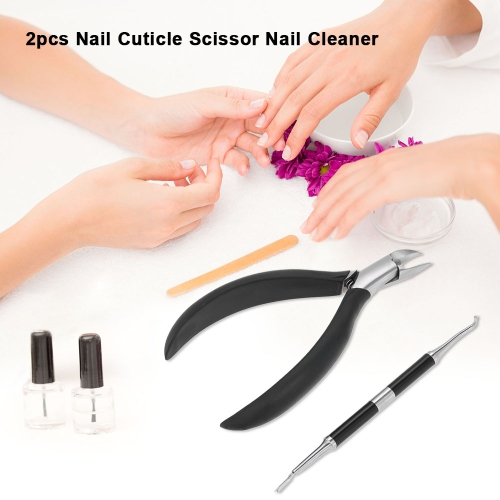 2pcs Nail Cuticle Scissor Nail Cleaner Nail Cuticle Remover Nail Clippers Trimmer Cutter Paronychia Nippers Nail Grooming Kit With Storage Box Red