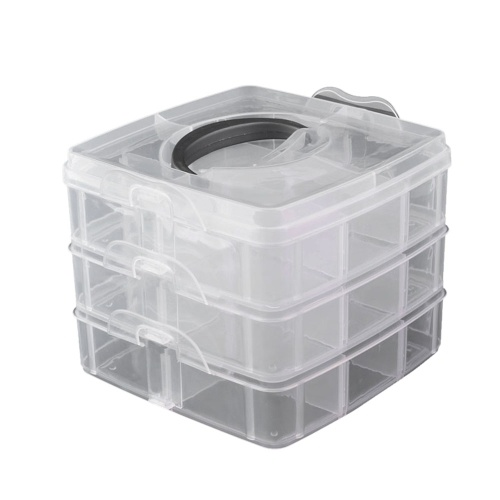 3 Layers Plastic Empty Storage Box Nail Art Rhinestone Tools Jewelry Beads Organizer Container Detachable Makeup Box