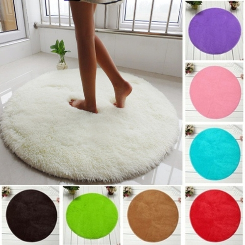 40cm*40cm Soft Bath Bedroom Floor Shower Round Mat Rug Non-slip Black