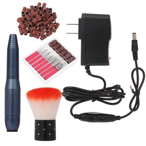 Портативная электрическая дрель для ногтей, профессиональная пилка для маникюра, педикюра, 20000 об / мин, набор сверл для акриловых гелевых ногтей