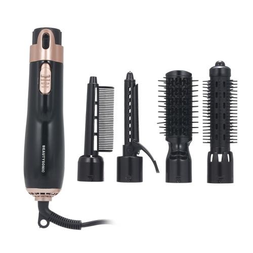 4 в 1 Фен для укладки волос и бигуди для волос Выпрямитель для волос Ударная сушилка Вращающаяся расческа для феном