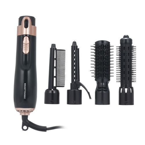 4 in 1 Hair Dryer Styler and Volumizer Hair Curler Straightener Blow Dryer Brush Rotating Blow Dryer Comb