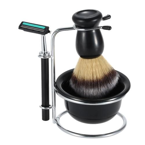 4 в 1 мужских бритья бритвой задать сухой & мокрой мужской серебряный Чистка лица держатель для бритья бритвой + мыло чаша + Баджер кисть