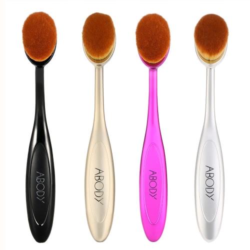 Image of 1pc Abody Oval Make-up-Bürsten-Kosmetik-Stiftung Creme Powder Blush professionellen Make-up-Tool Kosmetik Pinsel Silber