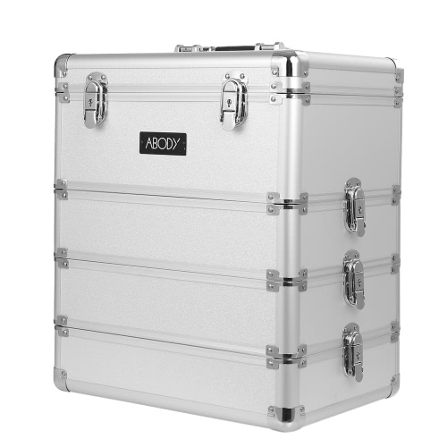 Abody cosmética tren caja de maquillaje caso de almacenamiento de los artistas de maquillaje 4 en 1 estuche de maquillaje con cierre caja de aluminio extensible Organizador de plata