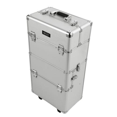 トレイシルバーとAbody化粧トレインケースメイク収納オーガナイザー拡張可能なメイクアップアーティストケースローリングロックケース