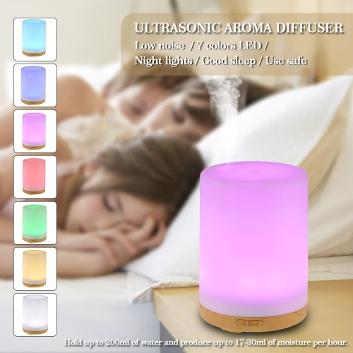 Anself 200ml Cool Mist Humidifier 7 Colors LED light  for Home Office Bedroom SPA Yoga US plug
