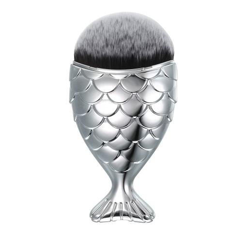 1pc щетка состав Фиштейл пудра Кисть Нейлон рыбка Косметические румяна Щетка для макияжа на лицо Silver