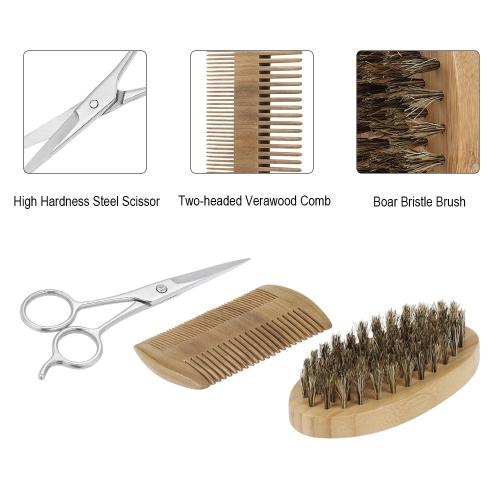 3Pcs Men's Beard Brush Comb Scissor Kit Boar Bristle Shaving Brush + Verawood Beard Comb + Stainless Steel Scissor Male Facial Hai