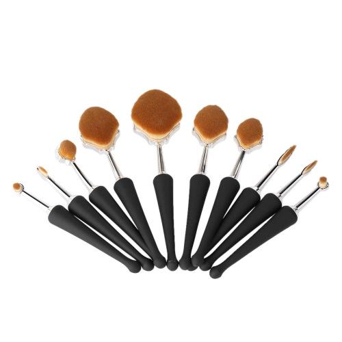 10шт. Кисти для макияжа Набор нейлоновых волос Косметические кисти Kit Раковина формы порошок Румяна Eyeshadow Lip Brush Makeup Tool