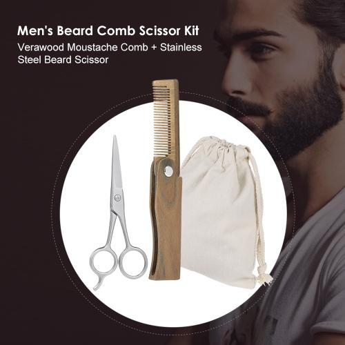 2Pcs Men's Beard Comb Scissor Kit Verawood Moustache Comb + Beard Scissor Male Facial Cleaning Hair Brush Set w/ Storage Bag