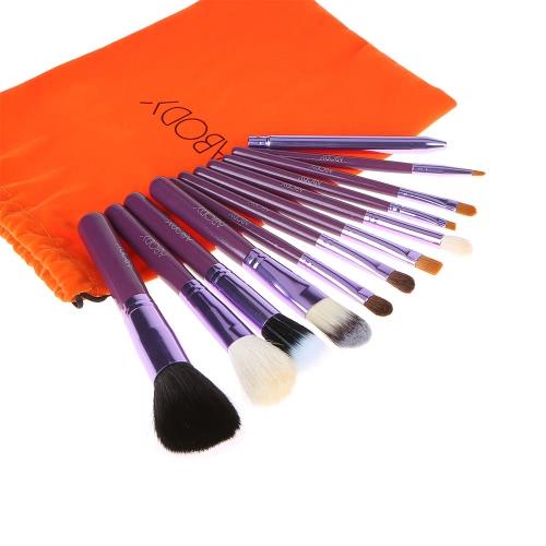Abody 12Pcs Professional Makeup Brush Set Powder Brush Wooden Handle Essential Cosmetic Kit Eyeshadow Brushes Purple
