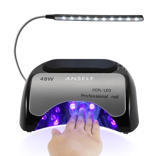 Lámpara de uñas Anself 48W LED + CCFL del gel del clavo secador de uñas de curado Máquina de uña y uña del dedo del gel curado 110-240 clavo de la pintura del salón del arte Herramienta Negro enchufe de la UE