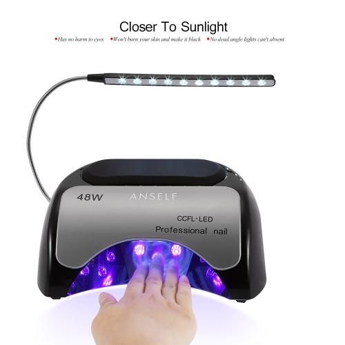 Anself 48W LED + CCFL лампа ногтя гель сушилка для ногтей Отверждение машина Fingernail & Toenail гель Лечение 110-240 Nail Art Картина салон Tool Gray ЕС Plug