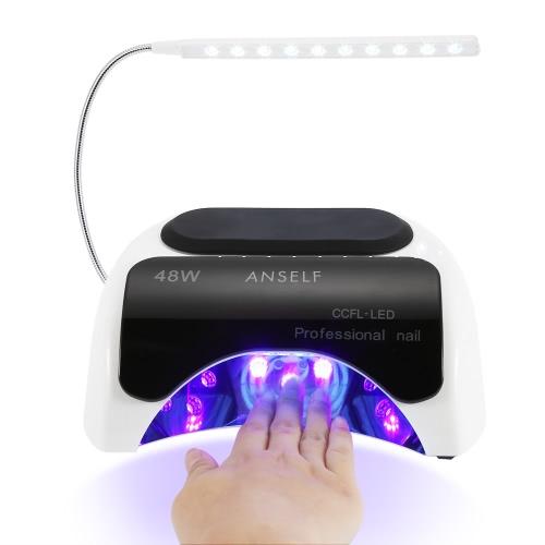 Anself 48W LED + CCFL лампа ногтя гель сушилка для ногтей Отверждение машина Fingernail & Toenail гель Лечение 110-240 картины искусства ногтя салон Инструмент белый штекер ЕС