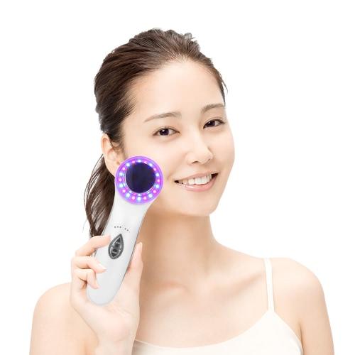 Ultrasonic Facial Massager 3 LED de fotones de luz de limpieza facial anti-envejecimiento de la piel cuidado de la herramienta remover las arrugas Máquina facial enchufe de la UE