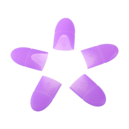 5pcs Silikon Nagellackentferner Soak Off Cap UV Gel Polish Remover Verpackungs-Klipp-Nagel-Kunst-Soaker Nail Resurrection Clip Nagelreiniger Nail Art Werkzeug Lila