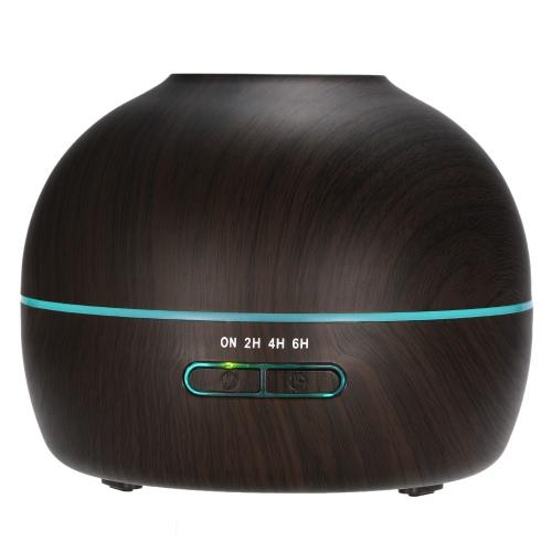 300ml Luftbefeuchter mit kühlem Nebel Ultraschall Essential Oil Diffuser Holzmaserung Aroma Diffuser w / Einstellbare Nebel-Modus Wasserlos Auto Absperr- und 7 Farben LED-Leuchten ändern für Home Office