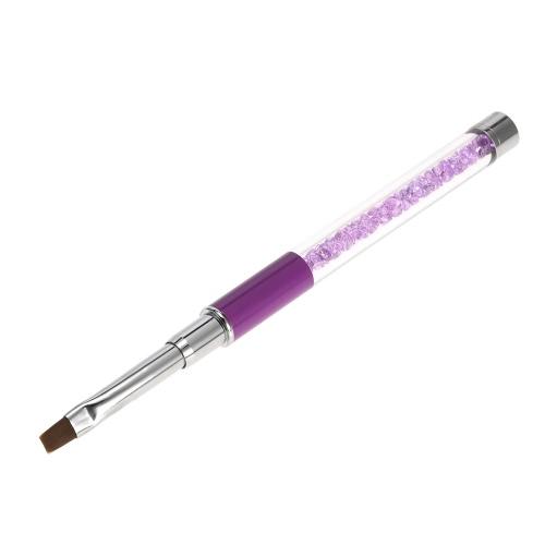1шт искусства ногтя щетки нейлона DIY Nail Pen Плоский гвоздь Картина кисти салон Украшение Ручка для УФ-гель для ногтей Инструмент фиолетовый
