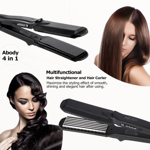Abody 4 in 1 Hair Straightener Curler Hair Crimper Waver 4 Kinds of Interchangeable Plates Flat Iron Temperature Control 160-220° UK Plug