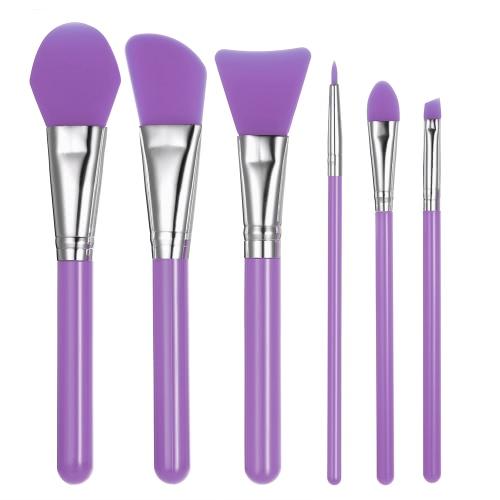 6шт Силиконовые кисти для макияжа Набор маска для лица Фонд кисти Косметика Eyeshadow бровей кисти комплект с пластиковой ручкой Фиолетовый фото