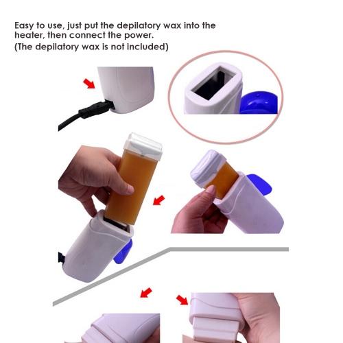 Depilatory Wax Heater Roller Waxing Hot Cartridge Electric Roll On Depilatory Heater Portable Epilator Hair Removal Warmer With EU