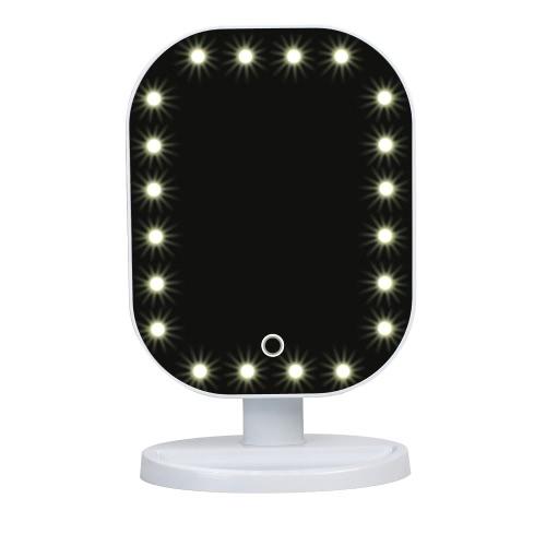 Мода Высокое качество 20 светодиодные Lady Девочка красоты Косметические площади тщеславия Настольная подставка зеркало для макияжа ABS сенсорный экран