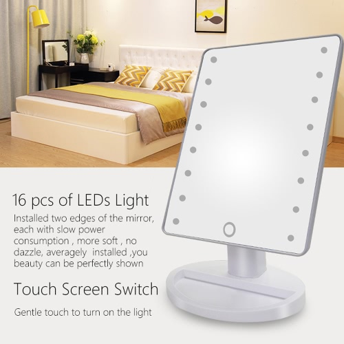 Image of High Quality Fashion 16 LED Light Makeup Mirror Rotatable Touch Dimmable Brightness Adjustable Lady Girl Beauty Cosmetic Square Vanity Desk Stand