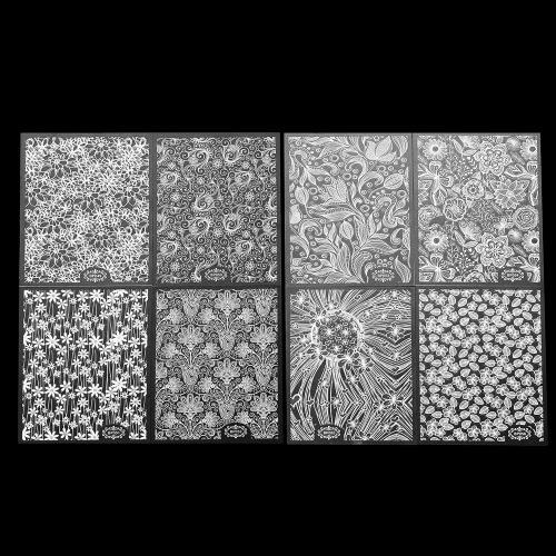 8 листов / пакет белый 3D Nail Art Наклейки надписи патч Metallic Цветы Дизайн для ногтей Art Decoration Советы Салон аксессуаров инструмент