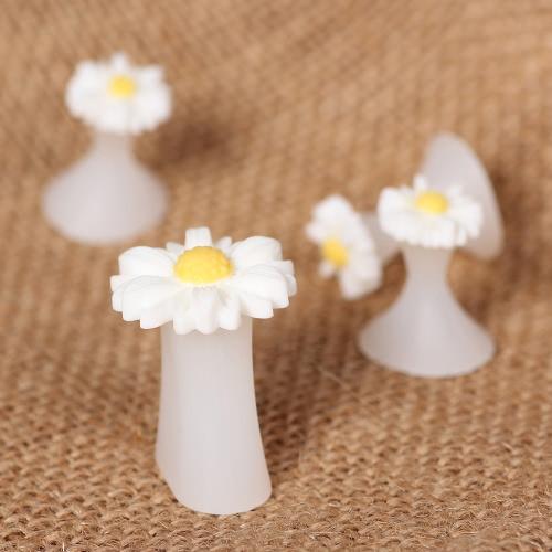 8pcs neue Silikon-Zehenspreitzer Fuß Toe Verbreiterungen für Heim und Salon-Gänseblümchen-Blume Pedicures DIY Nagel-Kunst-Werkzeug Weiß