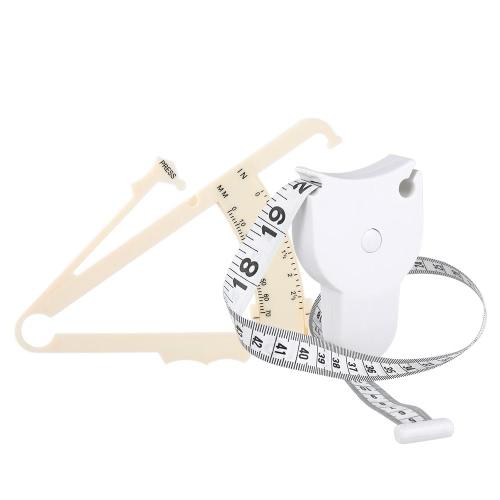 70mm Skinfold Body Fat Caliper Set Körperfett Tester Körper Skinfold Messwerkzeug mit Maßband Weiß