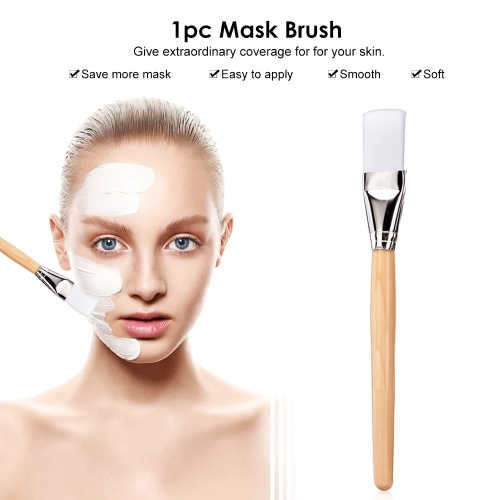 1pc Facial Mask Brush Wood Handle Soft Fiber Hair Foundation Brush Beauty Cosmetic Tool
