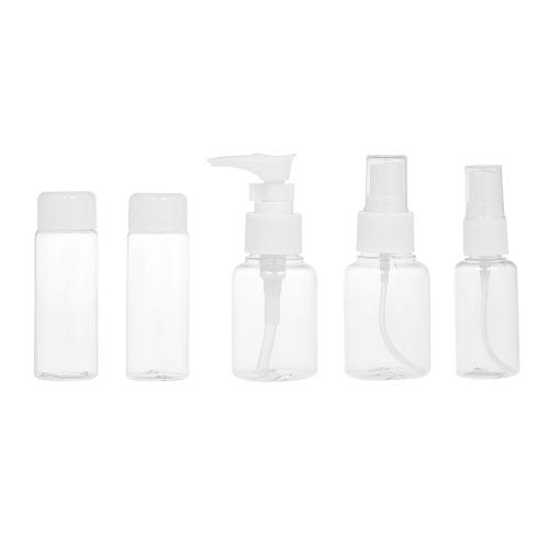 5Pcs leere Spray-Flaschen-bewegliche Reise-Verfassungs-Creme-Flaschen-Kosmetik-Flaschen nachfüllbare Plastikverfassungs-Flaschen