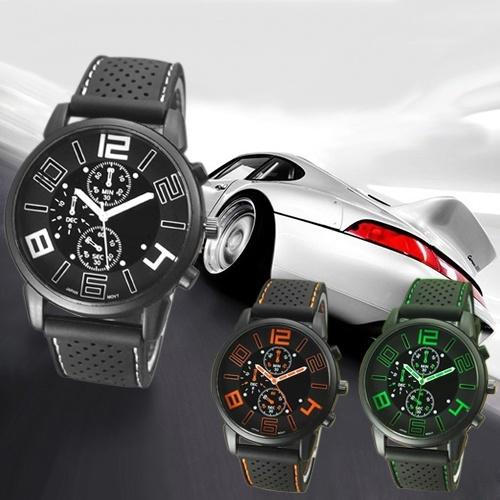 Reloj de pulsera casual deportivo de silicona de acero inoxidable analógico de cuarzo