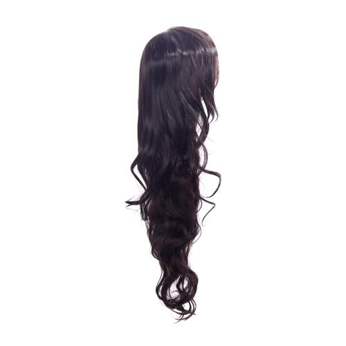 85cm moda pelo Cosplay peluca de fiesta mujer pelo rizado ondulado peluca llena Brown