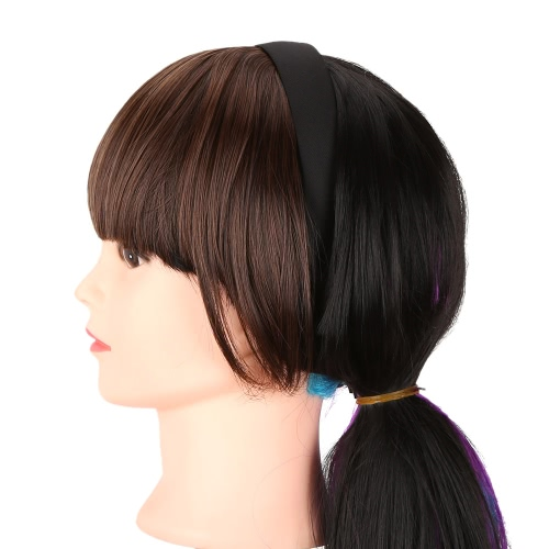 Mode Mädchen Haare Verschluss vorne ordentlich Bang Fringe Haarverlängerung stummellenker