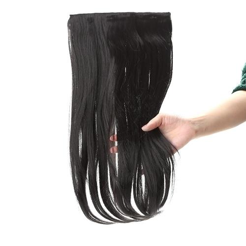 Hohen Temperaturen lange Seide leicht gelockt Slice Haarverlängerung mit 5 BB Vorhänger Simulation Lace Perücke