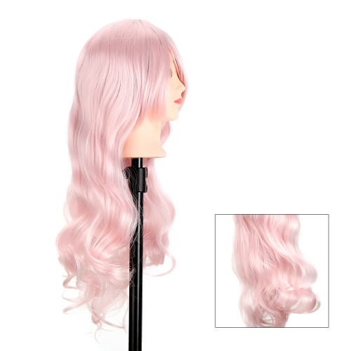 Long Oblique Bang Dark Pink Cosplay Party Wig Beautiful Wavy Wig Hair