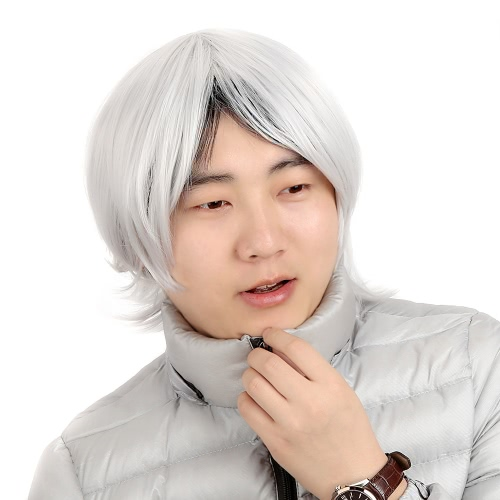 High Quality Wig Tokyo Ghouls Silver Grey Against Become Warped Hair for Male
