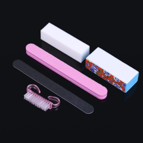 5Pcs Professional Manicure Tools Kit Rectangular Nail Files Brush Nail Art Accessories