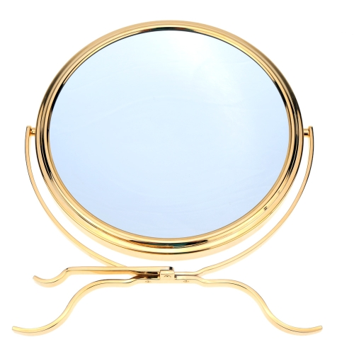 Anself 8 Inch 5x Magnification Rotating Double Dual Sides Circular Round Shape Tripod Bathroom Bedroom Makeup Cosmetic Vanity Desk Stand Mirror